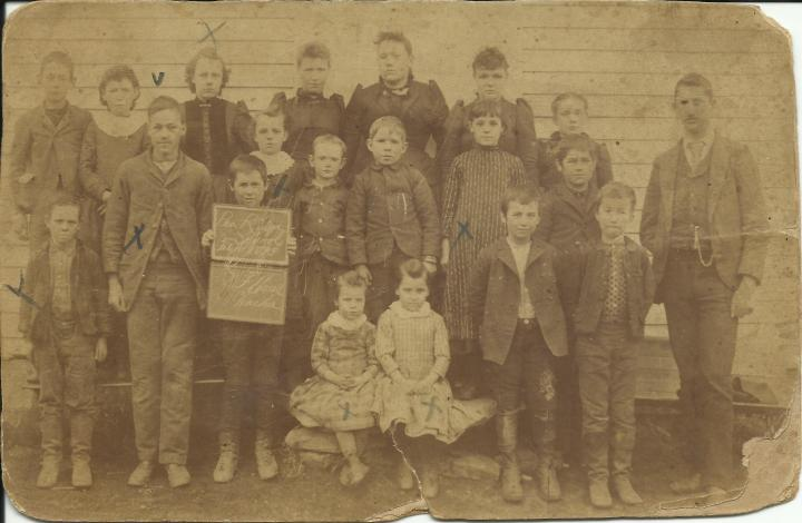 Original photo showing students at Pea Ridge School in February 1893.