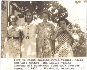 Twyla Yeager, Melba and Gail McGhee, Lucile Vining in 1935 in Woodward, Oklahoma.