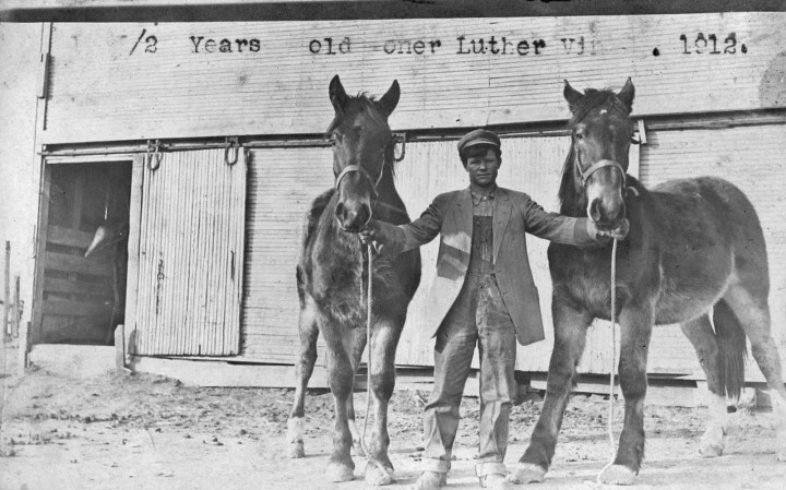Luther Vining in 1912 with horses. (photo belongs to Bob Harlan)