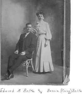 Edward McClellen Bolte and Bessie Vining. This might be their wedding photo.