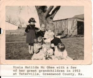 Here is Viola Matilda McGhee with some of her great grandchildren in 1953.