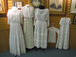 Dresses on display at the Eureka, Kansas historical society.