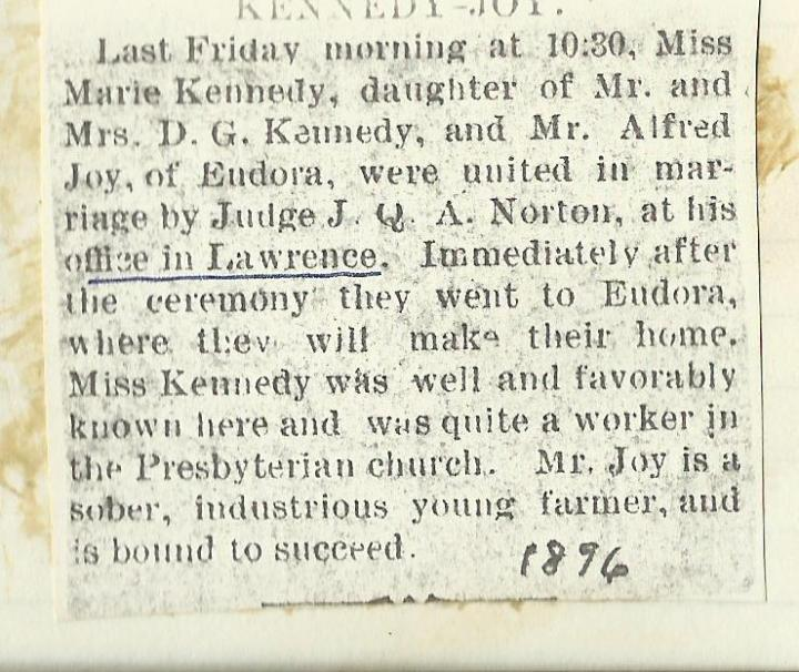 Joy_Kennedy_wedding_newspaper_article_1896