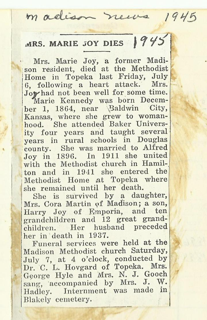 Mrs._Marie_Joy_Dies_Madison_News_1945
