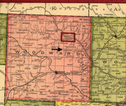 1905 map of woodward county OK