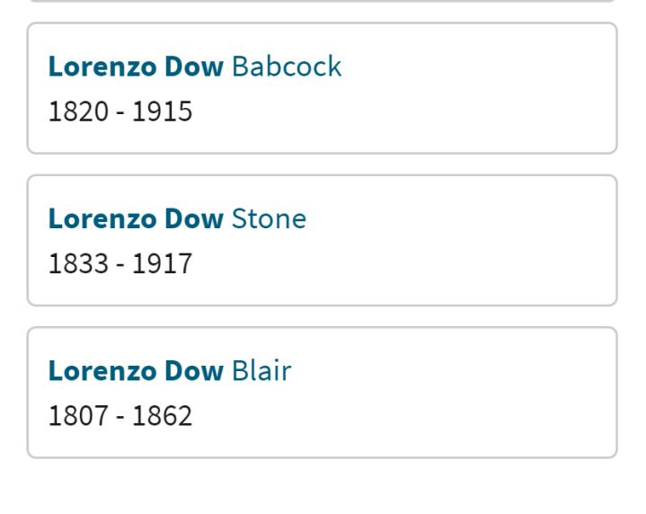 ancestors named Lorenzo Dow