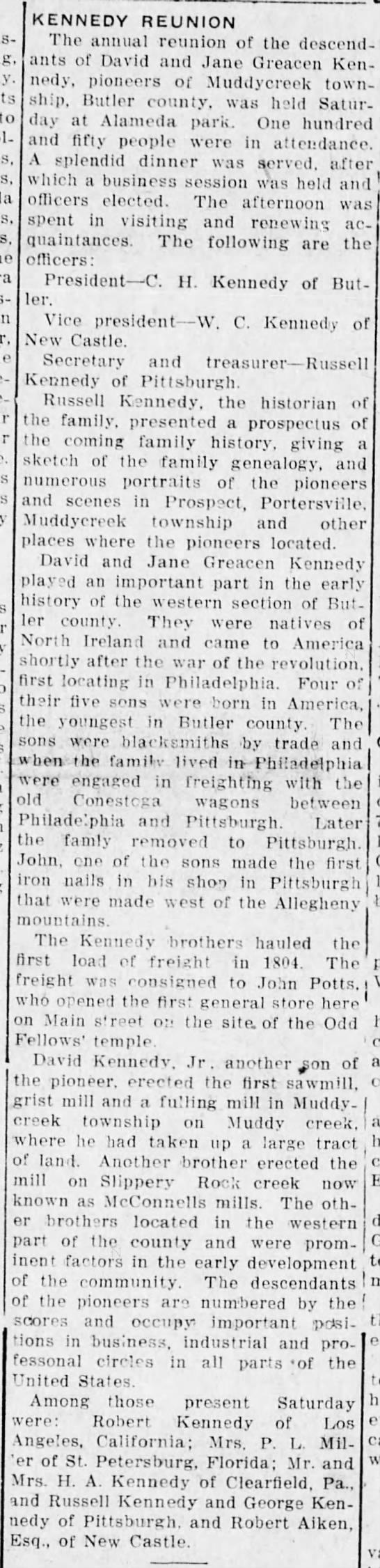 kennedy reunion 1915