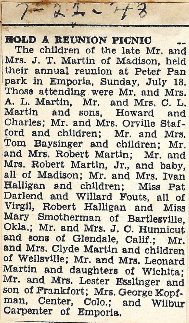 1948 reunion clipping