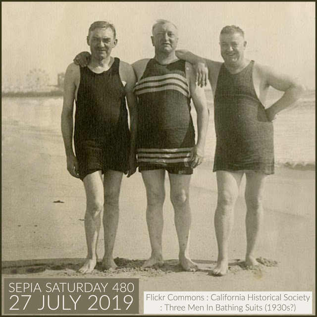 Sepia Saturday  - Three Men In Bathing Suits (27 July 2019)
