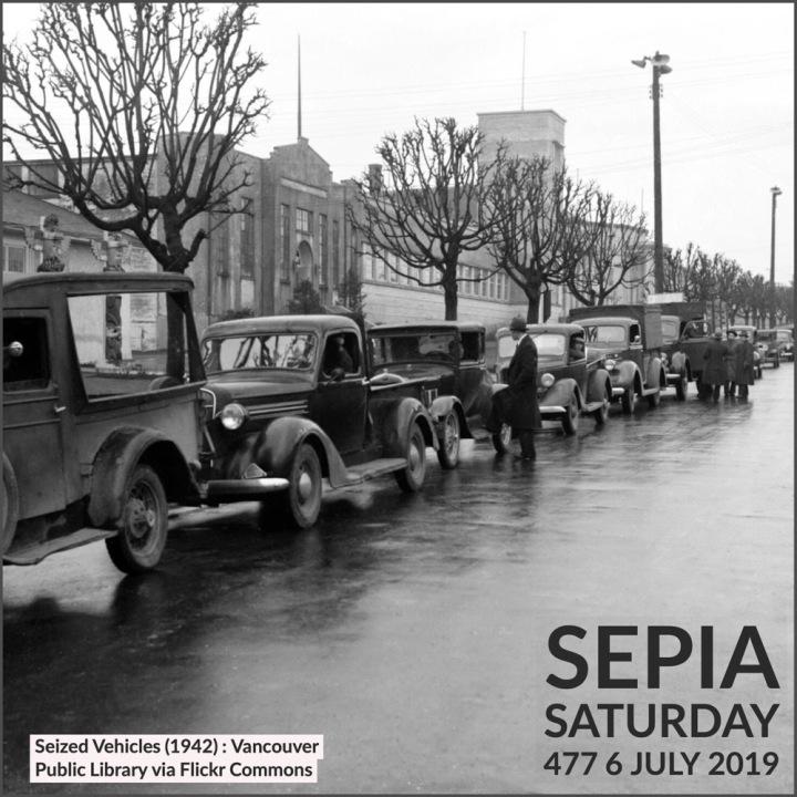 Seized Vehicles (1942) Vancouver Public Library : Sepia Saturday 477