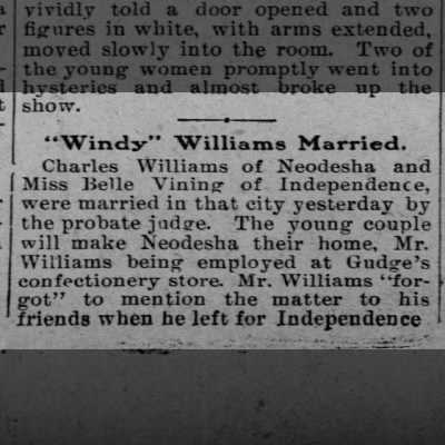 belle marries windy williams