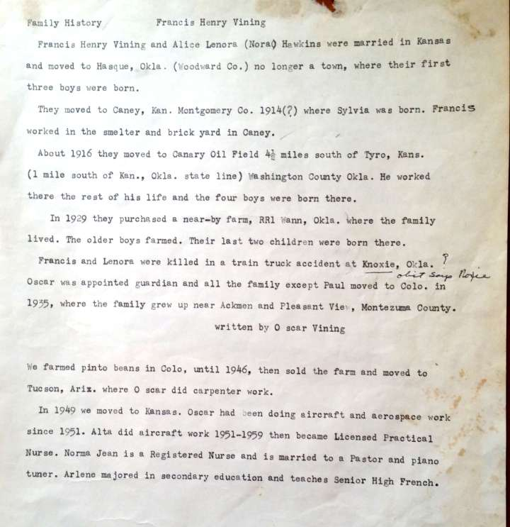 Oscar Vining's memories of Henry Francis and Nora & siblings train wreck