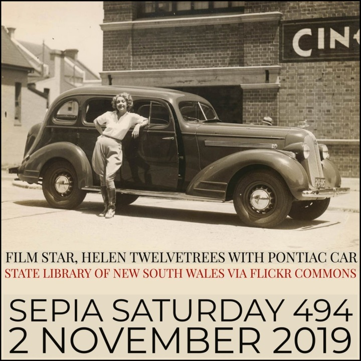 Sepia Saturday Header 494 (2 Nov 2019) Filmstar With Car