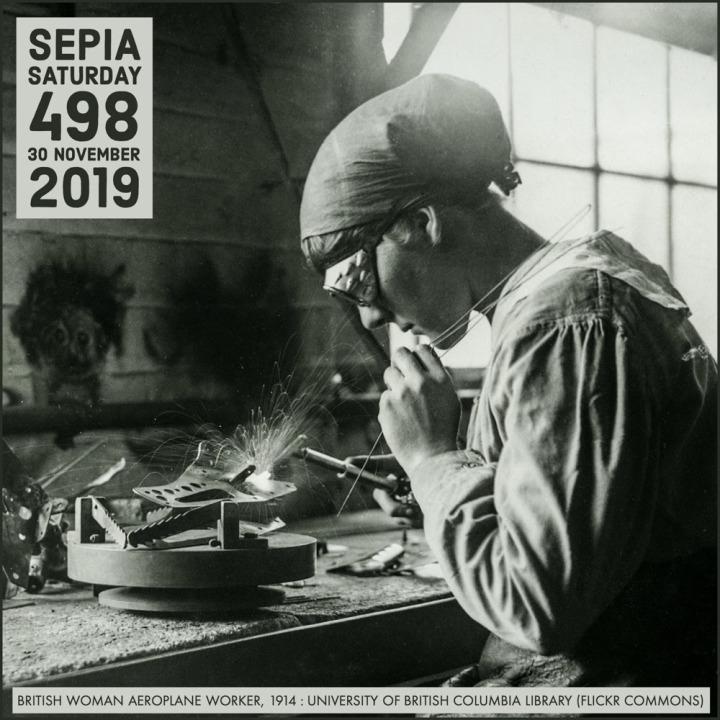 Woman Aeroplane Worker : Sepia Saturday 498 Header