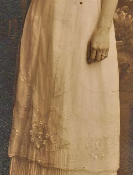 Cora's wedding dress - overskirt - 1915
