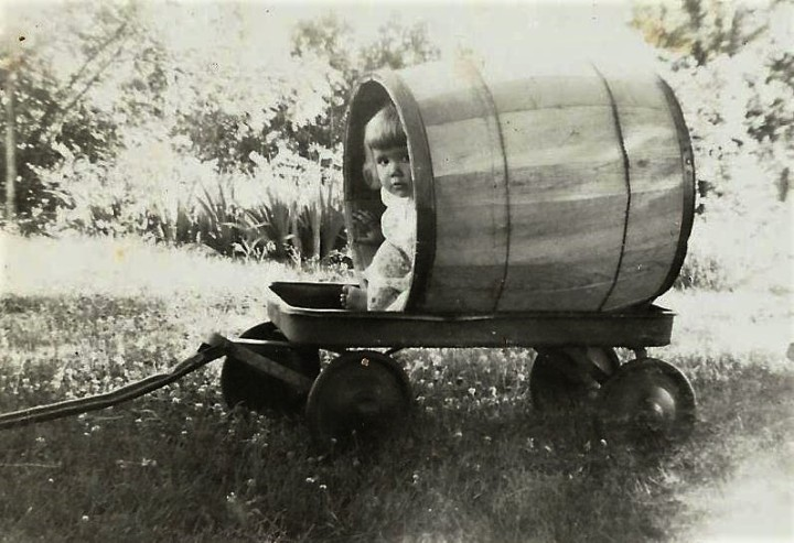 cindy in barrel wagon