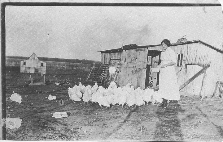ruth and chickens - maybe 1918