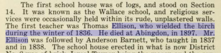Annals of Knox County - first school, Thomas Ellison