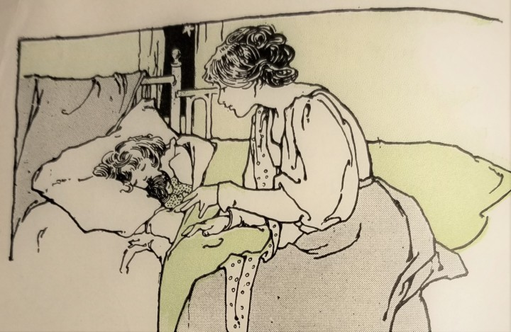 vintage illustration of mother and child