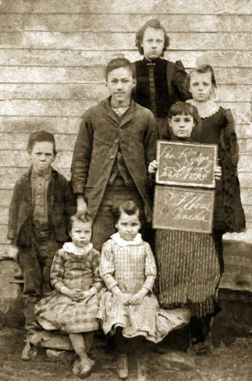 The Vining children at Pea Ridge School 1893 in Wilson County, Kansas. (composite photo created by Claudia D'Souza).